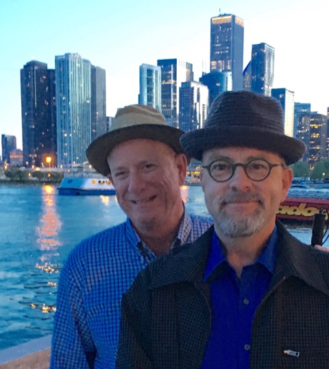 Lou and Victor wearing our new hats at Navy Pier in Chicago